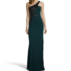 ABS forest green & black evening gown